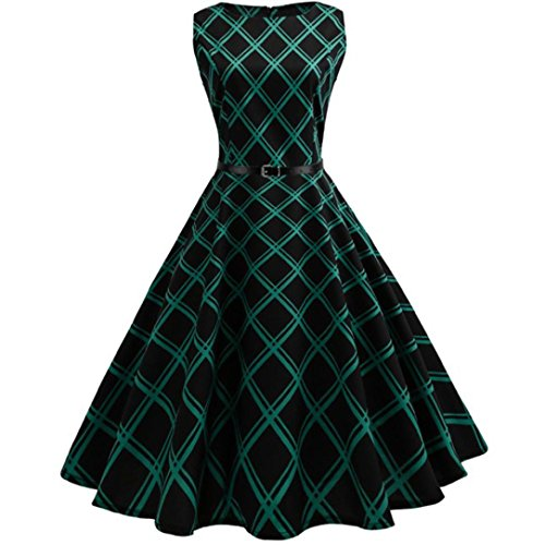 Women Dress, ღ Ninasill ღ Vintage Floral Bodycon Plaid Sleeveless Casual Evening Party Dress Skirt Blouse Tops M, Green