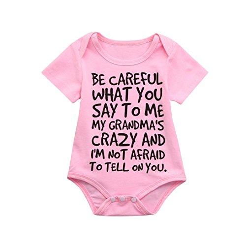 Clearance Sale 0-24 Months Newborn Infant Baby Kids Girl Boy Letter Print Romper Jumpsuit Sunsuit Outfits Clothes Pink, 6-12 Months