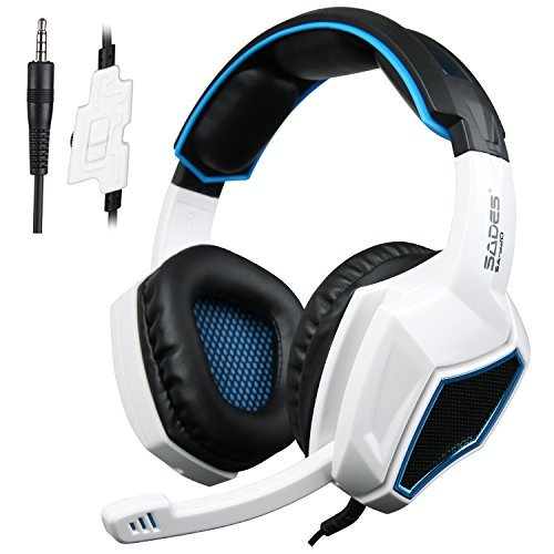 SADES SA920S Stereo Gaming Headset for PC PS4 Xbox One X Controller, Noise Cancelling Over Ear Headphones with Mic, Bass, Soft Memory Earmuffs for Computer Laptop Mac Nintendo Switch Phones-White