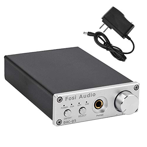 Fosi Audio Q5 Silver – DAC Converter 24-bit/192kHz Optical/Coaxial/USB Digital-to-Analog Adapter Decoder & Headphone Amplifier & Mini Stereo Pre-Amplifier