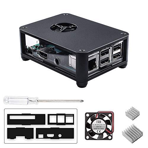 Smraza Raspberry Pi 3 B+ Case with Fan, 2 Pcs Heatsinks, 1 Pc Screwdriver, Aluminum Case for Raspberry Pi 3 Model B+, Compatible with Raspberry Pi 3 Model B, Raspberry Pi 2 Model B