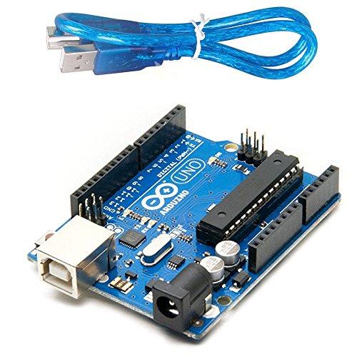 Arduino Uno R3 Development Board, Kit Microcontroller Based on ATmega328 and ATMEGA16U2 with USB Cable for Arduino, OriginalArduino Uno R3