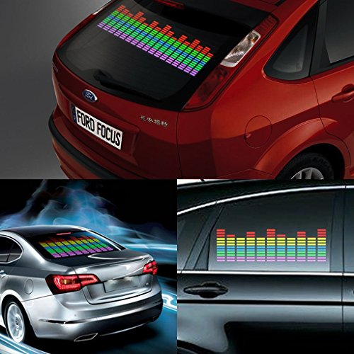 DIYAH Auto Sound Music Beat Activated Car Stickers Equalizer Glow LED Light Audio Voice Rhythm Lamp 45cm X 11cm / 18in X 4.5in Multi Color