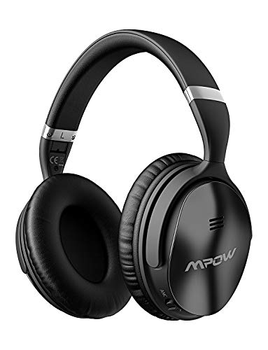 Mpow H5 Active Noise Cancelling Headphones, ANC Over Ear Wireless Bluetooth Headphones w/Mic, Dual 40 mm Drivers, Superior Deep Bass for PC/Cell Phone 30Hrs Playtime, CVC6.0 Noise-Cancelling Mic