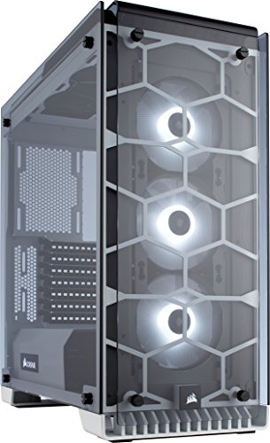 CORSAIR CRYSTAL 570X RGB Mid-Tower Case, 3 RGB Fans, Tempered Glass – White CC-9011110-WW