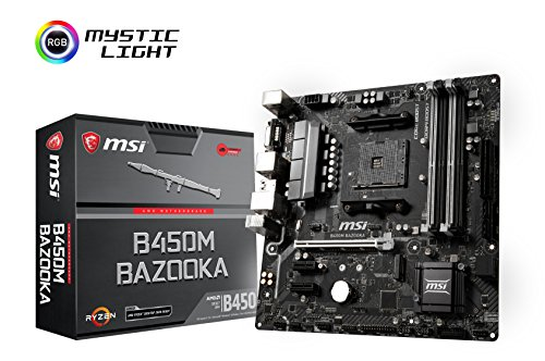 MSI Arsenal Gaming AMD Ryzen 1st and 2nd Gen AM4 M.2 USB 3 DDR4 DVI HDMI Micro-ATX Motherboard B450M Bazooka