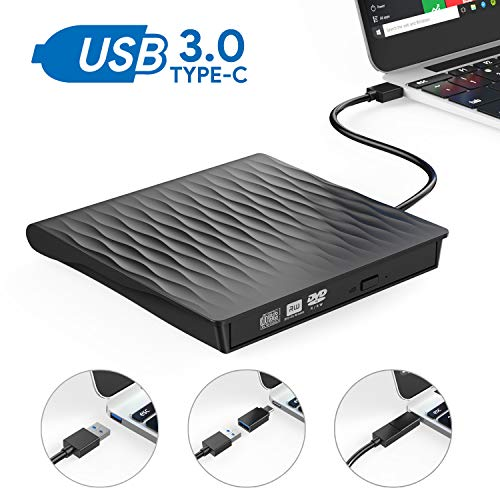 External CD DVD Drive,AUCEE USB 3.0 Type C Dual Port Slim Portable External CD DVD Rewriter Burner Writer, High Speed Data Transfer External USB Optical Drives for Laptop/MacBook/Desktop Black