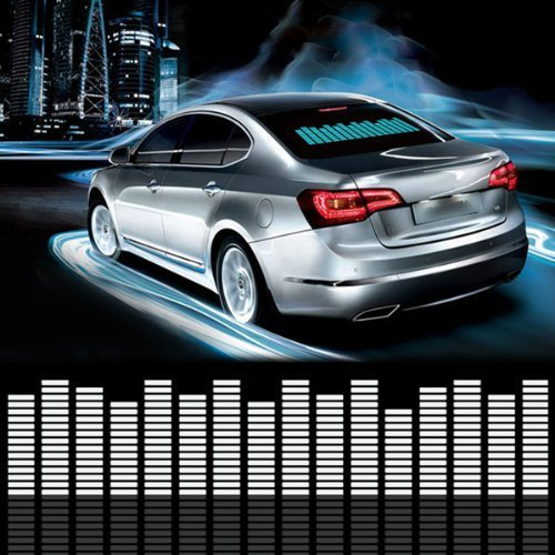 DIYAH Auto Sound Music Beat Activated Car Stickers Equalizer Glow LED Light Audio Voice Rhythm Lamp 70cm X 16cm / 27.5in X 6.3in Blue
