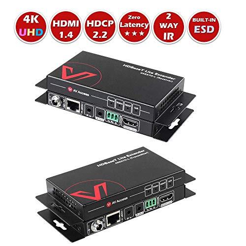 AV Access HDMI ExtenderHDBaseT,Uncompressed 4K 60Hz Over Single Cat5e/6a, 70m230ft 1080P,40m130ft 4K,PoE+IR+RS232+HDCP2.2,HDR & Dobly Vision,Dolby Atmos & DTS:X