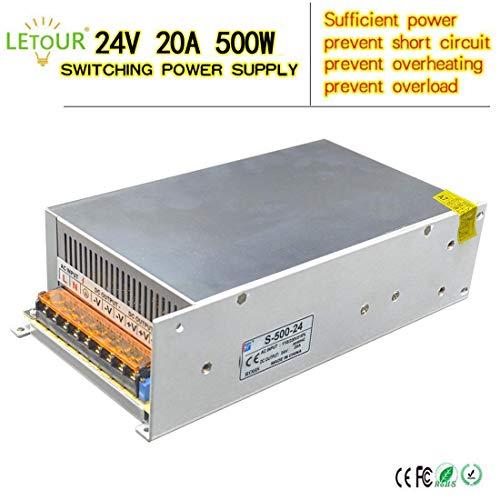LETOUR LED Power Supply 24V 20A 500W AC 96V-240V Converter Adapter DC S-500W-24 Power Supply for LED Lighting,LED Strip,CCTV 24V 20A 500W