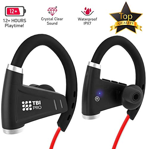 IPX7 Waterproof Music Earbuds for Gym Running – Best Workout Wireless Sport Earphones w/Mic – All-New 2019 Bluetooth Headphones w/ 12+ Hours Battery