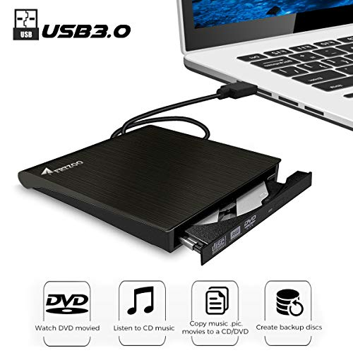 External CD DVD Drive, Fryzoo USB 3.0 CD/DVD +/-RW Drive Ultra Slim DVD CD ROM Burner Rewriter Driver Super High Speed Data Transfer Compatible with Desktop Linux Mac and Laptop