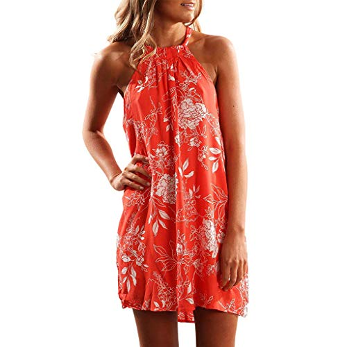HTHJSCO Women's Summer Halter Neck Floral Print Sleeveless Casual Mini Dress, Tunic Top Swing T-Shirt Loose Dress Orange, L