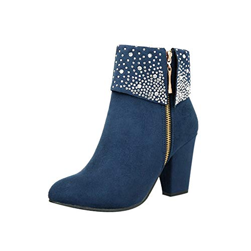 Womens Sexy Crystal Ankle Boots Thick Square Heels Side Zipper Party Booties Warm Round Toe Shoes Size 5-9.5 Blue, US:5