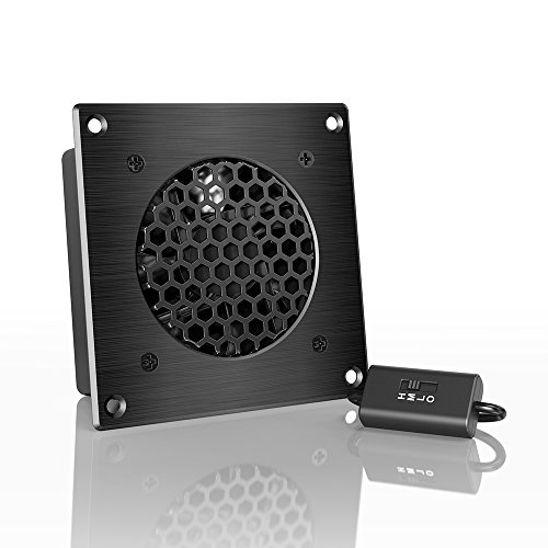 AC Infinity AIRPLATE S1, Quiet Cooling Fan System 4″ with Speed Control, for Home Theater AV Cabinets