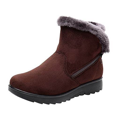 Womens Winter Ankle Boots, Ladies Snow Boots, Martin Booties Faux Fur Plush Zipper Footwear Warm Cotton Shoes Brown, US:8.5 / Foot Length:9.9-10.1″