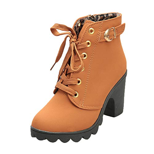Womens Buckle Strap Ankle Boots – Ladies Sexy High Heel Chunky Platform Lace Up Dress Booties Shoes Yellow, US:7