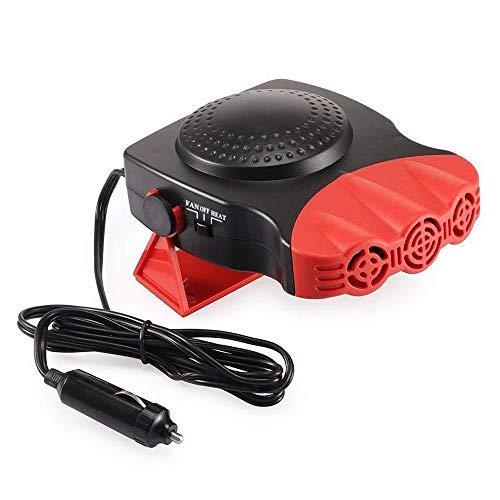 New Portable Car Heater, Auto Electronic Heater Fan Fast Heating Defrost 12V 150W Car Heater, Plug Adjustable Thermostat in Cigarette Lighter, 2 in 1 Heating/Cooling Function 3-Outlet Car Heater Re