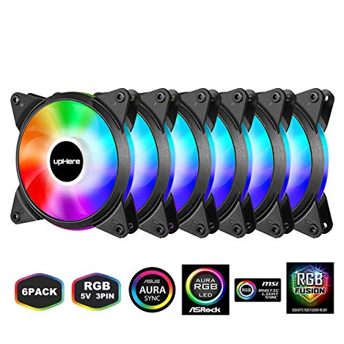 upHere 6-Pack 120mm Silent Intelligent Control Addressable RGB Fan Motherboard Sync, Adjustable Colorful Fans with Controller T3SYC3-6