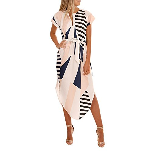 HTHJSCO Women Casual Short Sleeve V Neck Printed Asymmetric Maxi Dress with Belt Casual Long Dresses White, L
