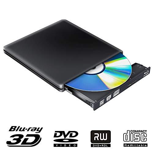 External Blu Ray DVD Drive 3D 4K, USB 3.0 Optical Bluray DVD CD Burner RW Player CD Row Rewriter Portable Compatible for MacBook OS Windows 7 8 10PC Chromebook Black