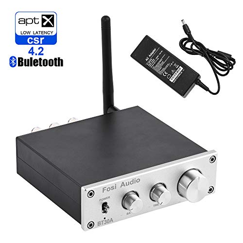 Bluetooth 4.2 Stereo Audio Amplifier 2.1 Channel Receiver Class D Mini Hi-Fi Integrated Digital Amp with Bass Treble Control 50Watt x 2 + 100Watt x 1 for Home Passive Speakers Subwoofer BT30A-Silver
