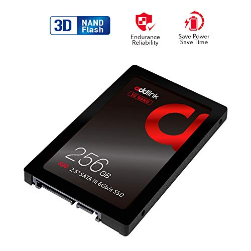 addlink S20 3D NAND SSD 256GB SATA III 6Gb/s 2.5-inch/7mm Internal Solid State Drive with Read 510MB/s Write 400MB/s 3D NAND 256GB