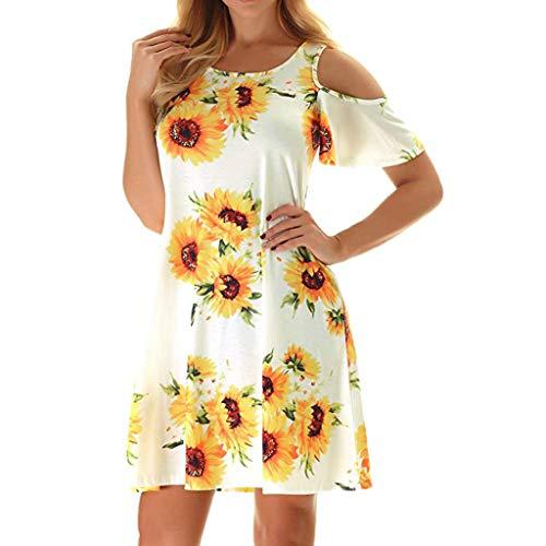 Sunhusing Women's Off Shoulder Short Sleeve Sunflower Print Dress Ladies Summer Casual Mini Dress White