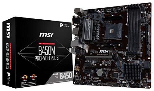 MSI ProSeries AMD Ryzen 1st and 2ND Gen AM4 M.2 USB 3 DDR4 D-Sub DVI HDMI Micro-ATX Motherboard B450M PRO-VDH Plus