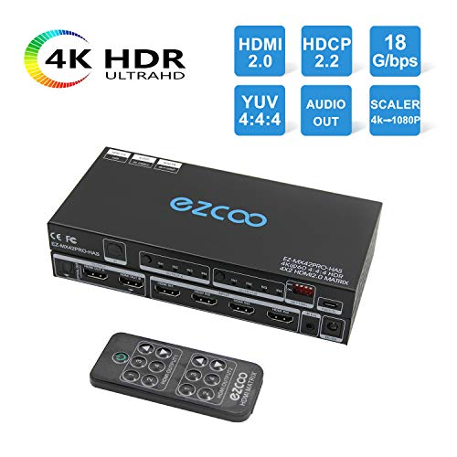 EZCOO HDMI 2.0 Matrix 4×2 4K 60Hz 4:4:4 18g 18Gbps HDR Dolby Vision HDCP 2.2, Firmware Update, HDMI Scaler Play 4K &1080P Together, EDID DIP Switch, SPDIF 5.1CH Breakout,HDMI Matrix Switcher,IR Remote