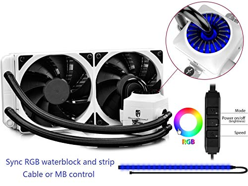 DEEPCOOL CAPTAIN 240EX RGB WHITE, AIO Liquid CPU Cooler, Sync RGB Waterblock and Strip with Cable Controller or Motherboard with 12V RGB 4-pin Header, 2×120mm PWM Fans, AM4 Compatible, 3-year Warranty