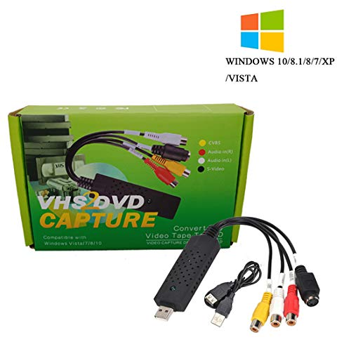 VHS to DVD Converter,USB 2.0 Video Audio Capture Card Grabber Device,VHS VCR TV to Digital Format Converter Support Windows 10/8/7/XP/VISTA