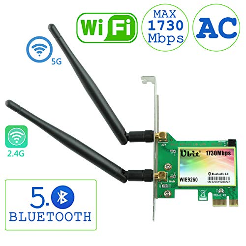 Ubit WiFi Card,AC 1730Mbps,Bluetooth 5.0 Dual Band Wireless Network Card, 9260 PCIe Adapter,PCI-E Wireless WiFi Network Adapter for Desktop PC