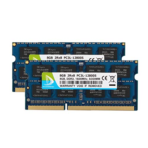 DUOMEIQI 16GB Kit 2 x 8GB DDR3L 1600MHz SODIMM PC3L-12800S 2Rx8 1.35V /1.5V CL11 204 Pin Non ECC Unbuffered Laptop Notebook Computer Memory Ram Module Upgrade for Mac, Intel and AMD System