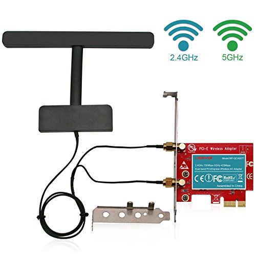 LTERIVER 802.11 AC 600Mbps 2.4GHz 5GHz Dual Band PCI Express PCIe Wireless Adapter-PCIe WiFi Card-PCIE Wireless Card-PCIe Wi-Fi Adapter-Qualcomm Atheros QCA9377 Wireless Network Adapter
