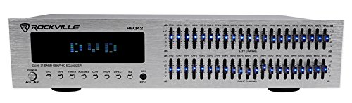 Rockville REQ42-S Silver 19″ Rack Mount 2×21 Band Equalizer w/Spectrum Analyzer