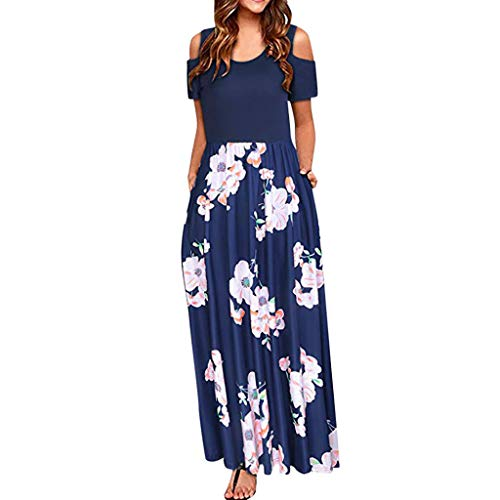 AIEason Fashion Dress Women' Cold Shoulder Pocket Long Dress Summer Floral Print Elegant Short Sleeve Casual Evening Dress Blue