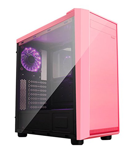 Apevia X-MIRAGE-PK Mid Tower with 2 x Full-Size Acrylic Side Window, Top USB3.0/USB2.0/Audio Ports – Pink