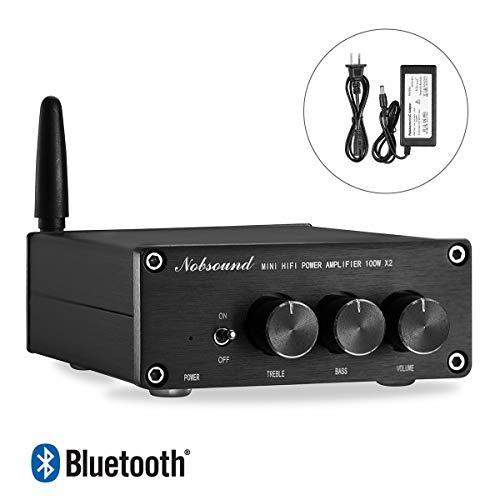 Nobsound Mini 200W Bluetooth 4.2 TPA3116 Power Amplifier, Wireless Receiver, Hi-Fi Stereo Class D Audio Amp with Power Supply, Treble Bass Control