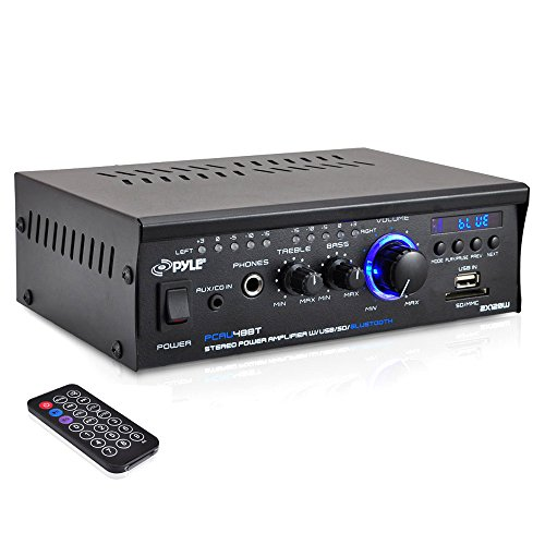 Pyle PCAU48BT – Bluetooth Mini Stereo Power Amplifier – 2x120W Dual Channel Sound Audio Receiver Entertainment w/Remote, for Amplified Speakers, CD DVD, MP3, Theater via 3.5mm RCA Input, Studio Use