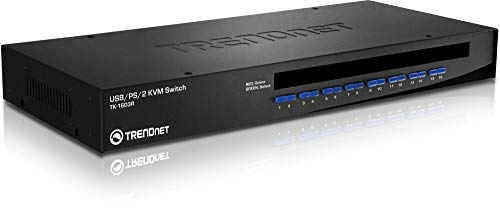 TRENDnet 16-Port Rack Mount USB KVM Switch, VGA & USB Connection, Supports USB & PS/2, Auto-Scan, Audible Feedback, Plug & Play, Hot Pluggable, Rack Mountable with Hardware, TK-1603R