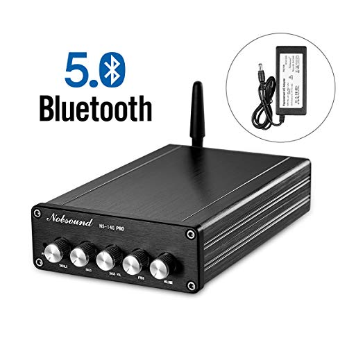 Nobsound 2.1 Channel Bluetooth 5.0 Amplifier, Class D Stereo Audio Amplifier, Mini Home Theater Power Amp, Digital Power Subwoofer Amplifier Receiver, 100W+50Wx2, Treble&Bass Control NS-14G PRO