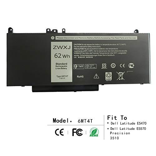 ZWXJ Laptop Battery Type 6MT4T 7.6V 62Wh for Dell Latitude E5470 E5570 Precision 3510 0HK6DV 079Vrk 79Vrk TXF9M 0TXF9M Notebook 15.6″