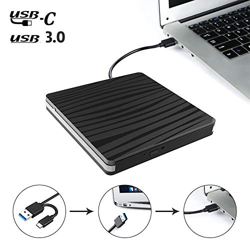 Xdtlty USB C External CD DVD Drive, USB Type C Adapter to USB 3.0 Superdrive DVD CD+/-RW Burner Writer Optical Drive Compatible for Windows 10/8/ 7 Laptop/MacBook/Desktop PC of HP Dell LG Asus Acer