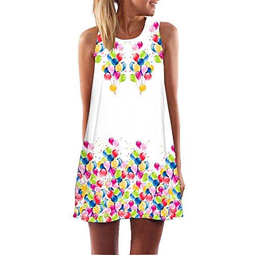Women's Vintage Loose Sleeveless Mini Dress 3D Floral Printed Sundress Boho Summer Casual Tank T-Shirt Dress S, Pink