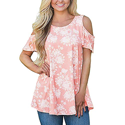 AIEason Women's Sexy Solid Color T-Shirt, Summer V-Neck Stitching Strapless Off Shoulder Short Sleeved Casual Blouse Tops L, Pink