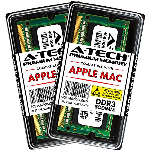 A-TECH for Apple 8GB Kit 2X 4GB DDR3 1067MHz / 1066MHz PC3-8500 SODIMM Memory RAM Upgrade for MacBook, MacBook Pro, iMac, Mac Mini – Late 2008, Early 2009, Mid 2009, Late 2009, Mid 2010 Models