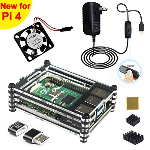 Jun-Electron for Raspberry Pi 4 B Case with Fan, ON/Off Switch 5V 3A USB-C Type C Power Supply, 3 x Heat Sinks, Card Reader