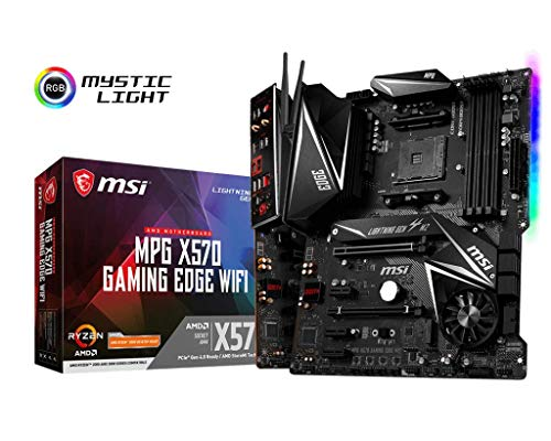 MSI MPG X570 Gaming Edge WiFi Motherboard AMD AM4, DDR4, PCIe 4.0, SATA 6Gb/s, M.2, USB 3.2 Gen 2, AC Wi-Fi 5, HDMI, ATX