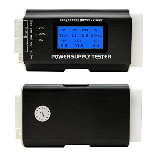"Computer PC Power Supply Tester, ATX/ITX/IDE/HDD/SATA/BYI Connectors Power Supply Tester, 1.8"" LCD Screen Aluminum Alloy Enclosure"